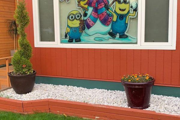window painting in the school